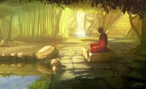 meditating sage in garden